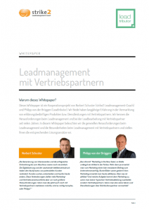 Lead Management mit Vertriebspartner Whitepaper