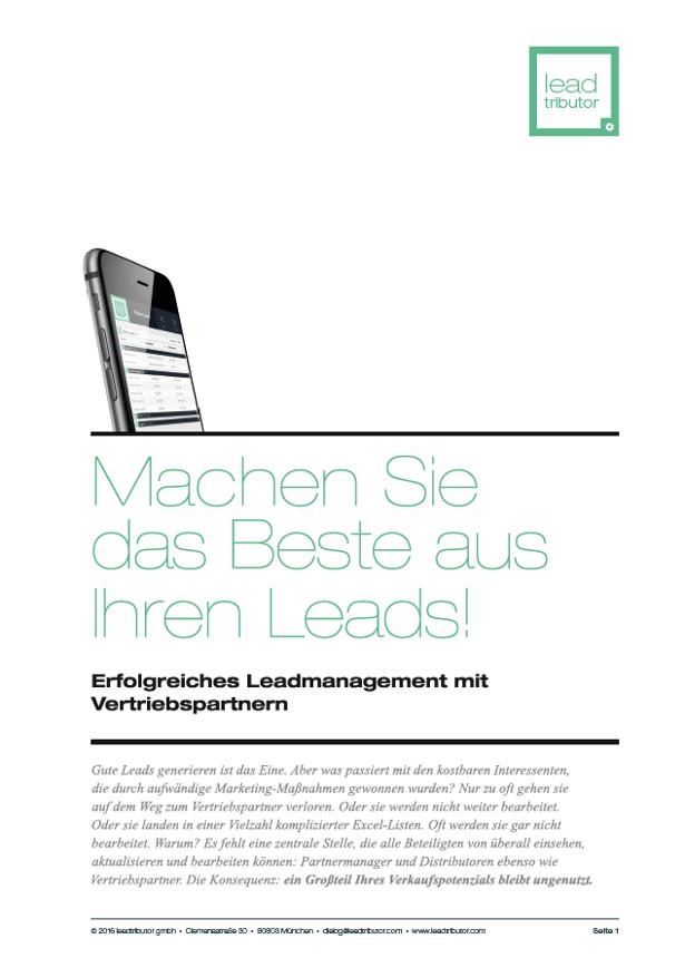 Lead Management leadtributor Datenblatt